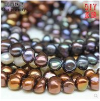 baroque pearls wholesale - Natural pearl paint color irregular shaped baroque pearl necklace bohemian semi finished products
