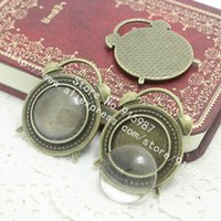 alarms settings - set Antique Bronze Metal Alloy alarm clock mm Round Cabochon Pendant Settings Clear Glass Cabochons D0211