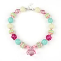 Wholesale Spring Pastel Kids Chunky Bubbelgum Necklace with Diamond Pendant Necklace Girls Chunky Necklaces
