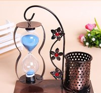 Wholesale 2015 Novelty Beautiful Iron Pen Creative Home Accessories Office Hourglass Ornaments Metal Craft Home Decor Arts and Crafts