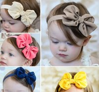 Wholesale 2015 Cute Baby Girls Chiffon Headband Baby Girls bow Elastic Hairband Kids colorful Headwear Hair Accessories