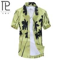 aloha beach - New Brand Summer Quick Dry Men Loose Aloha Shirt Coconut Trees Hawaiian Party Sand Beach Shirts Big Size L XL Beach Shirts C02