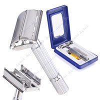 double edge razor blades - New men Metal Classic Double Edge Safety Razor With Case Mirror Brush Blade SV004029
