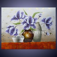 acrylic canvas - Handpainted Canvas Wall Art Acrylic Abstract Painting Modern Home Decoration Flower Oil Painting Picture