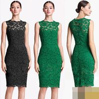 Bohemian Dresses al buy - green color Sleeveless knee length hollow out elegant summer new fashion women s casual lace dress Al Buy