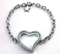 Cheap 1pcs about 30mm heart glass living locket Bracelet magnetic free shipping could put in floating locket charms