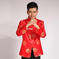 traditional chinese wedding dress - 2014 Chinese Man traditional reformed Cheongsam qipao dress groom tuxedos longfeng toast clothing red wedding dress tang suit