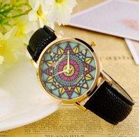 black sunflower - Fashion geneva Sunflower gold watches Leather Strap Analog Quartz Women Dress Watches Geneva Casual Wristwatch mens watch