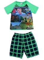 Cheap baby pajamas summer new minecraft baby sleepwear suit 6-12y boy-kids t-shirts+Pants 5sets lot minecraft clothes minecraft pyjamas