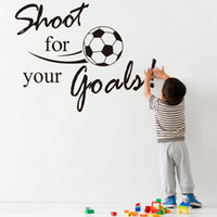 best goals - 2015 Best Selling PC Shoot For Your Goals Football Soccer Stickers Removable Decal Wall Sticker for Kids Room Home Decor