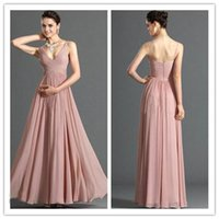 Cheap 2015 V Neck Long Brown Bridesmaid Dresses Chiffon Sleeveless Floor Length Zipper Ruched Formal Dress Special Occasion Dresses For Wedding