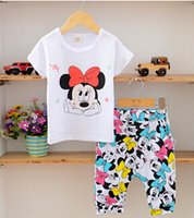 Cheap New 2015 Children Clothing Set Baby Girls Minnie mouse Cartoon Short Sleeve T-shirt short pants kids clothes sets 2-7 years, free shipping