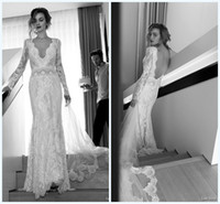 Cheap Boho Wedding Dress 2015 Long Sleeve Deep V Neck Backless Floor Length Lace Tiers Bridal Gowns