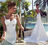 Wholesale Bling Bridal Dresses Mermaid Nurit Hen Vintage Long Train Cheap Backless With Lace Wedding Dress Sexy Garden Ball Gowns Pearl Beach