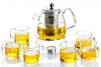 Wholesale 2016 New Arrival Multi purpose Heat Resisting Glass Tea Pot With Handle and Lid Glass Tea Cup Glass Tea Sets