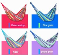 Wholesale 1pieces Vacation Beaches Canvas Color Strip Hammock outdoor camping swing thickening canvas two peason hammock casual double bearing mX m