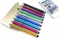 Wholesale 9 touch Screen pen Metal Capacitive Screen Stylus Pens Touch Pen For Samsung Iphone Cell Phone Tablet PC Colors Fedex DHL Free