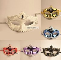 Wholesale Metal Party Mask Halloween Costume party mask for Christmas carnival halloween masquerade dance Venice mask Crystal Applique Edge Half Face