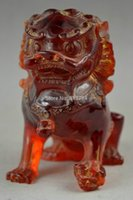 lion statue - Old Decorated Handwork Amber Carving Elegant Town House Lion Delicate Statue