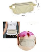 Wholesale Safe Travel Money Passport Waist Packs Security Waist Belt Strap Holders Wallets Bags Purses