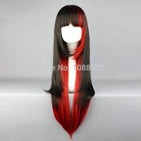 Cheap Punk Girl Black and Red Mixed Color 70cm Heat Resistant Fiber Gothic Lolita Wig Cosplay Wig Party Wig Wholesale