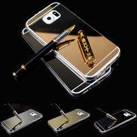 Cheap S6 S6 Edge Case Mirror Metal Aluminum+Clear Silicon TPU Phone Case For Samsung Galaxy S6 S6 Edge Case Luxury Ultra Thin Cover