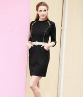 ladies office clothes - Work Dress With Belt New Fashion OL Women Ladies Office Clothes Bodycon Slim Party Dress Manual Bead Black