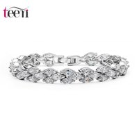 bar stones - Teemi Supplies Ladies Charm Bracelet New Luxury White Gold Plated Zircon Stone Bridal Chain Bracelet for Women Wedding Free Ship