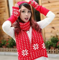 Wholesale 2014 Fashion For Women Christmas Cotton Scarf Dots And Snow Scarf With Hat Gloves Three Piece Suit Warm Suit Rj2341019