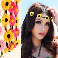 artificial wedding jewellery - Hot Sale Artificial Sunflower Floral Headbands Boho Wedding Bridal Hair Jewellery Flowers Braided Leather Elastic Headpiece For Women