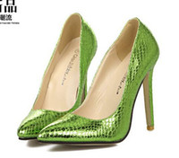 Wholesale 2015 New Green serpentine snake Women Pumps Sexy Pointed Toe High Heels stiletto Woman New Design Wedding Party Shoes size