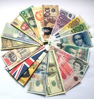 Wholesale 2015 New Fashion Chic Womens Mens Unisex Currency Notes USD Dollar GBP Pound AUD EURO Pattern Wallet Purse