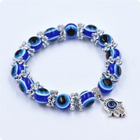 Wholesale Retro Blue Eye beads Hamsa chain Hallmarked Silver Core Murano hand made Glass For European Charm Bracelet