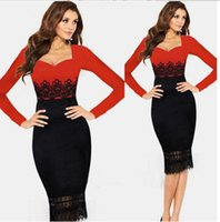 america sweethearts - Europe and America Star models Foreign trade Sexy Lace Splice Long sleeve Autumn Dress European Grand Prix Women