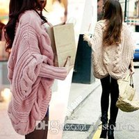 Wholesale NEW Women Cardigan Knitted Long Sleeve Batwing poncho Sweater Cardigans Fashion Girl s Coat Solid Crocheted Sweaters Tops Autumn OXL15092105