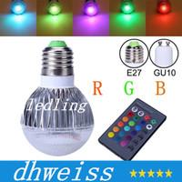El bulbo 2015 de la nueva llegada LED RGB LED E26 GU10 9W AC 85-265V rgb llevó la lámpara con el color múltiple teledirigido + CE ROHS