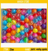 Wholesale 32mm empty half colored half clear plastic vending ball Plastic balls for vending machine