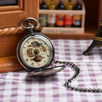 antique pocket watches for sale - Fashion Vine Mechanical Clock Watch Roman Numeral Dial Hot Sale Steampunk Skeleton Mechanical Pocket Watch For Men