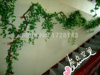 Wholesale 250cm Artificial Simulation Boston ivy Vines climbs Ivy creeper Rattan for fence Home Decor Bar Restaurant Decoration
