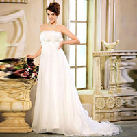 Wholesale Hot Sale New Maternity Wedding Dresses White Strapless Chapel Train Maternity Wedding Ball Gowns Sexy Hand Made Flowers Chiffon Dresses