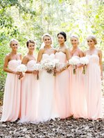 Cheap 2015 Simple A-Line Sweetheart Ruched Empire Chiffon Wedding Party Pink Bridesmaid dresses Long Custom Made