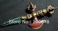 ancient buddhist art - TBC920 Tibetan antiqued Brass Cross Dorje big amulet inches Puba Buddhist Vajra decor arts Ancient wapean collectible
