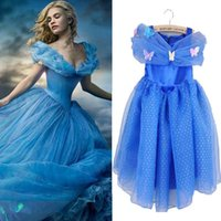 Wholesale 2015 Cinderella Dress With LaceTulle Gown Maxi Dress Girls Cosplay Costume Blue Dresses Newest Cinderella Kids Clothing F045