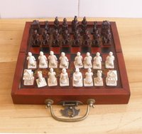 army international - Collectibles China Chinese Army Style Pieces Chess Set Leather Wood Box AAA