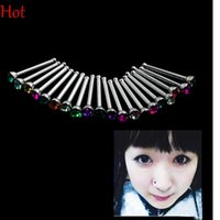 Wholesale 20pcs Nose Ring Fashion Body Jewelry Fashion Nose Stud Stainless Surgical Steel Nose Piercing Crystal Stud Nose Rhinestone Bar Piercing