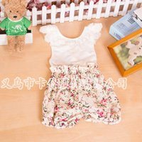 Wholesale Size One Summer Clothes - Size 6M-3T Exclusive custom tailored baby twins baby clothes lace vest LACE ROMPER JUMPSUITS Flower Cotton SHORTS Tops with Pants one-piece