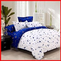 Wholesale 5 colors Aloe cotton bedding set moon star dual color quilt cover bed linen pillowcases bedclothes set full queen size set