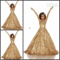 girls pageant dresses size 14 - Shiny girls pageant dresses Size Halter A Line Long Gold Sequined Fabric Beaded Girls Pageant Dresses Gowns for Teens Flower Girls Dress