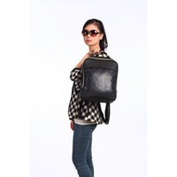 Wholesale Fashion Black PU Backpack Leather Waterproof School Backpack Laptop Backpack Two pockets Unisex Hiking Camping Travel Backpack ML