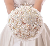 Cheap Luxury Wedding Bridal Bouquet with Handmade Rose Pearls And Diamonds Bride Holding Flowers High Quality